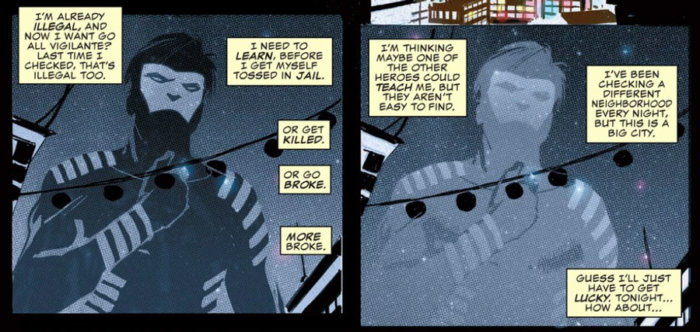 Blindspot demonstrating his invisibility suit, as seen in the Charles Soule and Ron Garney story in All-New, All-Different  Point One