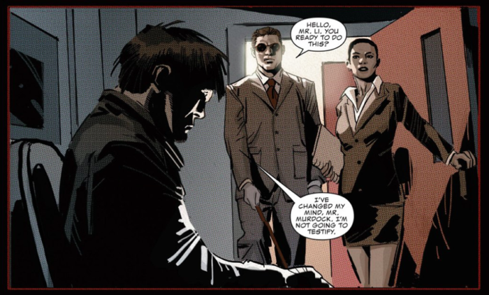 Matt attends to his witness, as seen in Daredevil #2 (vol 5), by Charles Soule and Ron Garney