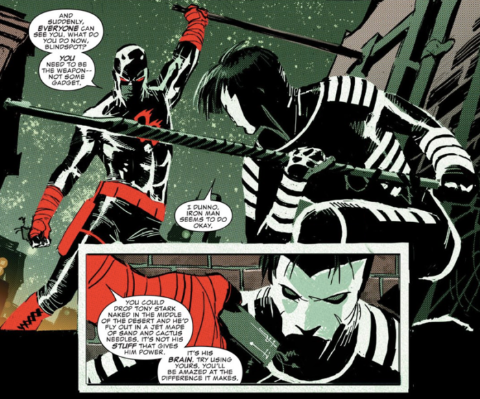 Daredevil teaches Blindspot a life lesson, as seen in Daredevil #2 (vol 5), by Charles Soule and Ron Garney