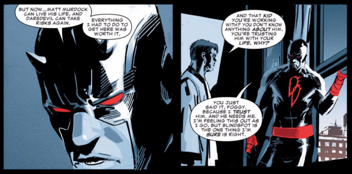 Matt speaking with Foggy, as seen in Daredevil #1 (vol 5), by Charles Soule and Ron Garney