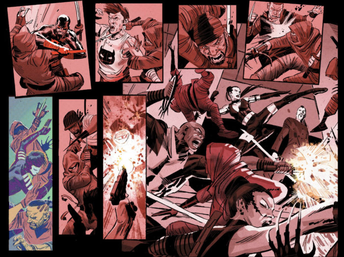 Daredevil fighting The Hand, as seen in Daredevil #3 (vol 5), by Charles Soule and Ron Garney