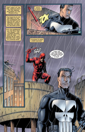 Daredevil catches up with Frank Castle to stop him from assassinating a mob boss, as seen in Punisher, vol 4 (2000-2001) #3, by Garth Ennis and Steve Dillon