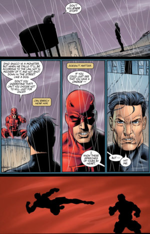 Daredevil and Punisher start debating, as seen in Punisher, vol 4 (2000-2001) #3, by Garth Ennis and Steve Dillon