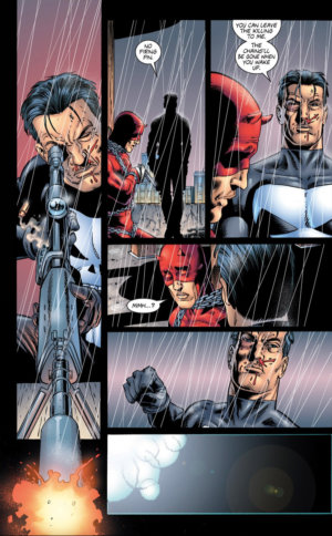 Daredevil has been tricked, as seen in Punisher, vol 4 (2000-2001) #3, by Garth Ennis and Steve Dillon