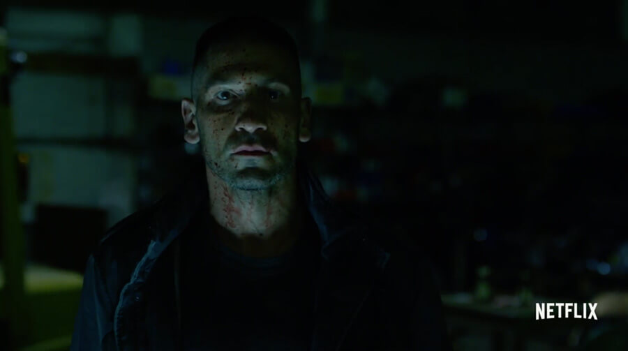 Frank Castle covered in blood, as seen in the trailer to Daredevil season 2.