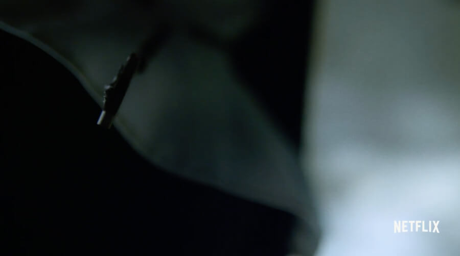 An extreme close-up of a nun wearing a cross, as seen in the trailer to Daredevil season 2.