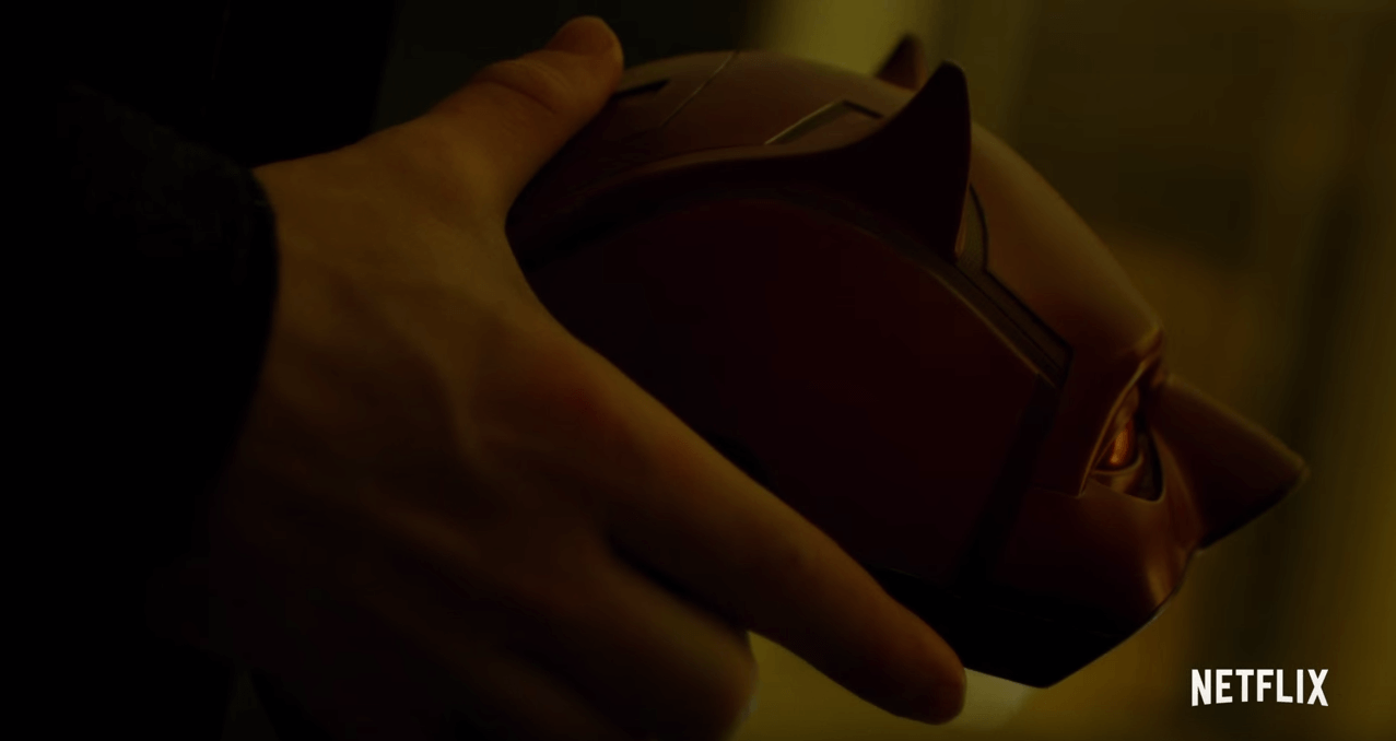 Matt holding his Daredevil mask, from the Netflix show