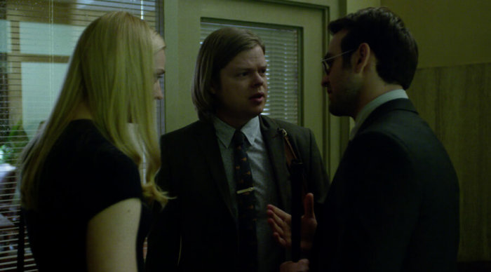 Matt, Foggy and Karen at the D.A.'s office, as seen in episode 10 of Daredevil season 2