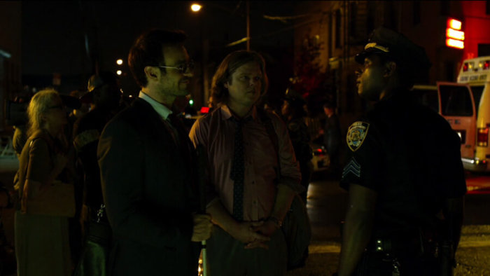 Matt and Foggy talk with Brett, as seen in episode one of Daredevil, season two