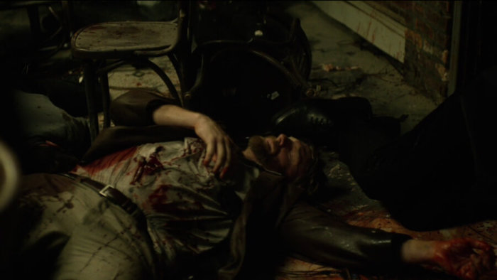 The crime scene after Castle is done shooting, as seen in episode one of Daredevil, season two