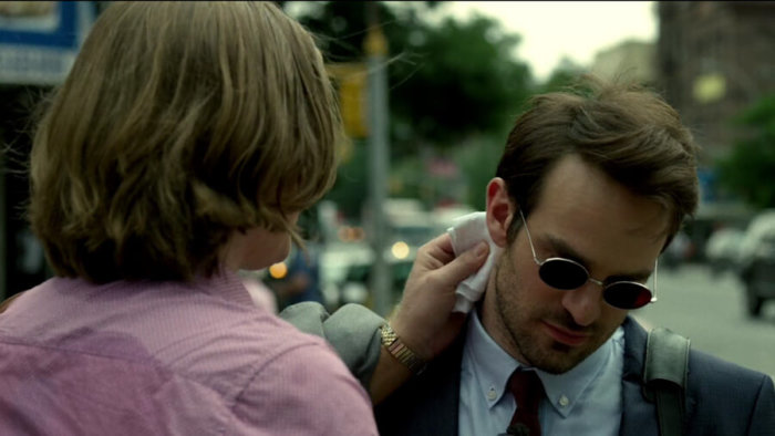 Foggy takes care of a cut on Matt's neck, as seen in episode one of Daredevil, season two