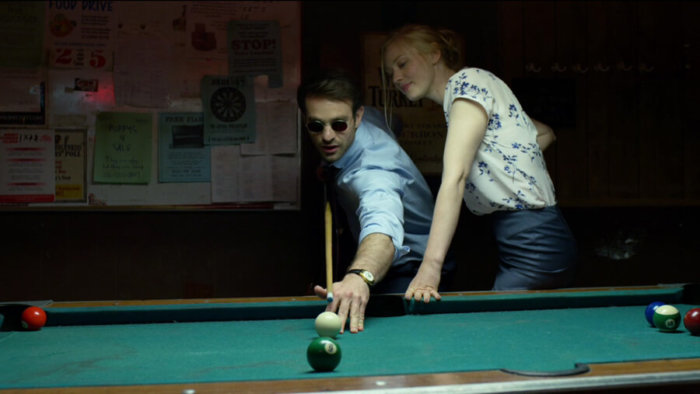 Matt and Karen playing pool, as seen in episode one of Daredevil, season two