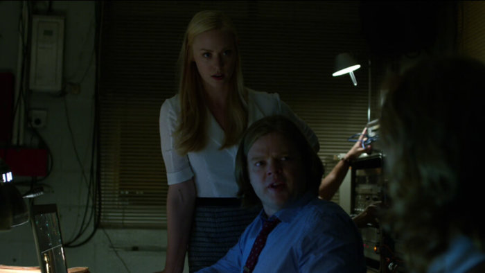 Foggy and Karen look at Reyes with shock, as seen in episode two of Daredevil, season two