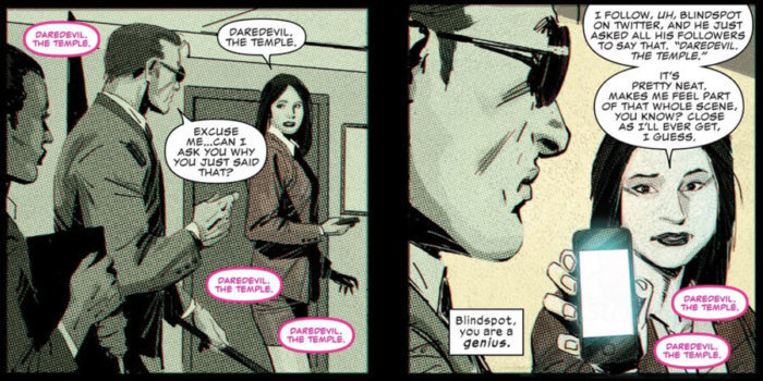 Matt gets an interesting message, as seen in Daredevil #5 (vol 5), by Charles Soule and Ron Garney