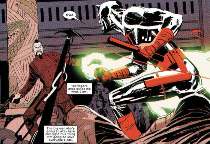 Daredevil fights Tenfingers, as seen in Daredevil #5 (vol 5), by Charles Soule and Ron Garney