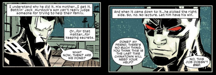 Daredevil offers Blindspot advice, as seen in Daredevil #5 (vol 5), by Charles Soule and Ron Garney