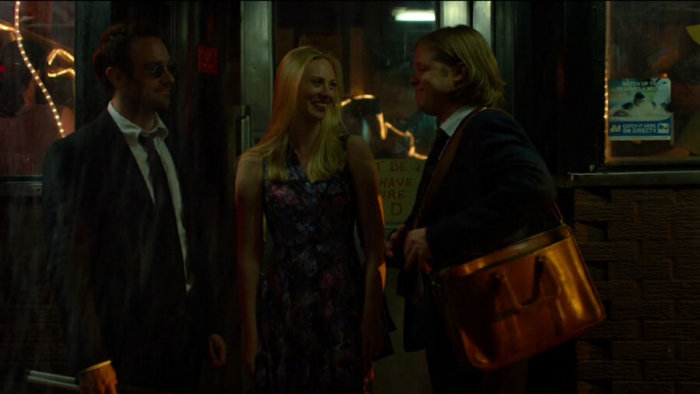 Foggy, Matt and Karen outside Josie's, as seen in episode four of Daredevil, season two