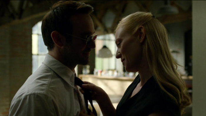 Karen helps Matt with his tie, as seen in episode four of Daredevil, season two