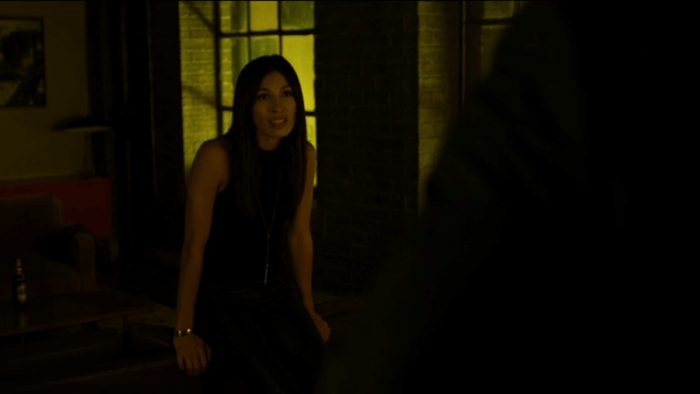 Elektra shows up in Matt's apartment, as seen in episode five of Daredevil, season two