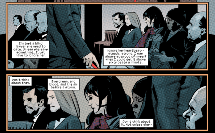 Matt spots Elektra in the court room, as seen in Daredevil #6 (vol 5), by Charles Soule and Matteo Buffagni