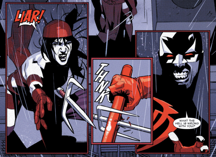 Daredevil fights Elektra, as seen in Daredevil #7 (vol 5), by Charles Soule and Matteo Buffagni
