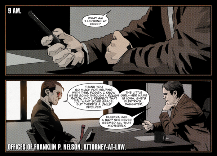 Matt talks to Foggy, as seen in Daredevil #7 (vol 5), by Charles Soule and Matteo Buffagni