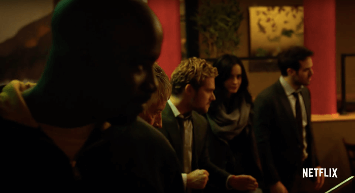 The team gets ready to fight Alexandra at the restaurant, as seen in episode four of Marvel's The Defenders