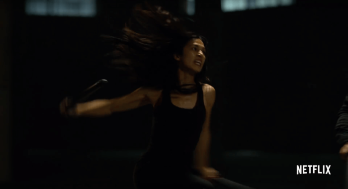 Elektra warms up. Image from the trailer for The Defenders.
