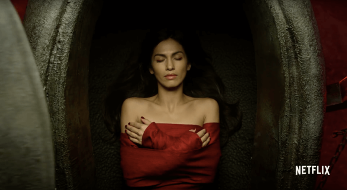 Elektra in her tomb. Image from the trailer for The Defenders.