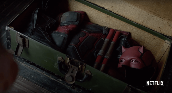 Daredevil's costume. Image from the trailer for The Defenders.