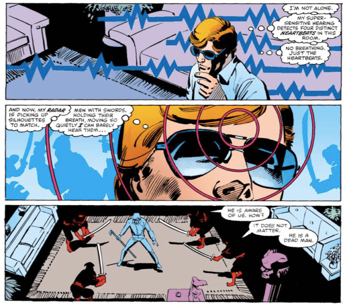 NInjas come to Matt's apartment. He barely notices them in time. As seen in Daredevil #174 (vol 1), by Frank Miller and Klaus Janson