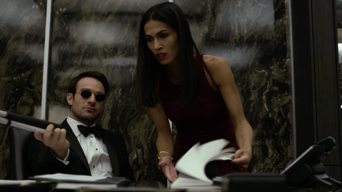 Matt sits back and lets Elektra look for the ledger, as seen in episode six of Marvel's Daredevil, season two