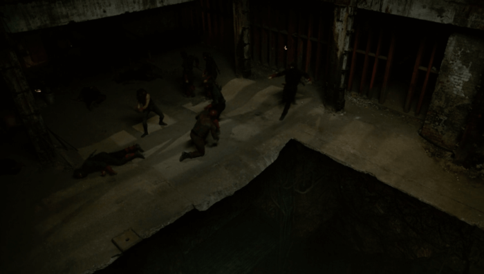Matt and Elektra fighting ninjas, as seen in Marvel's Daredevil season two, episode eight.