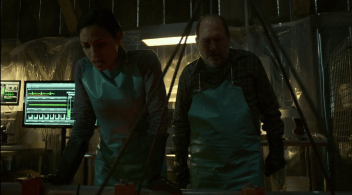 Claire attending to Luke's acid bath, as seen in Marvel's Luke Cage