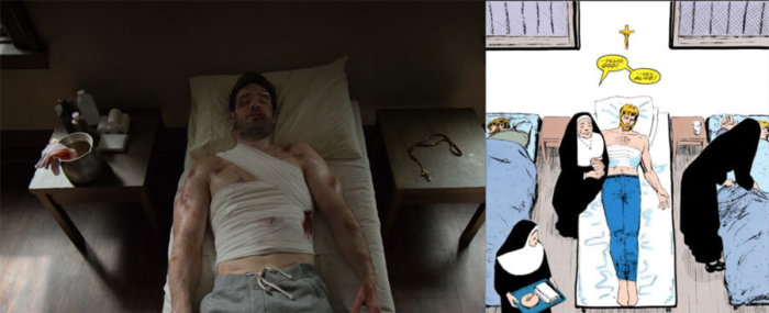 Matt seen injured on a bad in a convent. Scene comparison between the final episode of The Defenders and a simliar panel from Daredevil #230, by Frank Miller and David Mazzucchelli