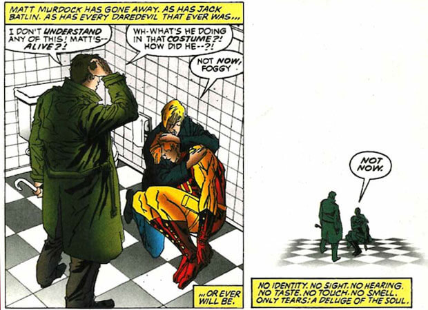 Foggy discovers Matt's secret, as seen in Daredevil #347, by J.M. DeMatteis and Ron Wagner