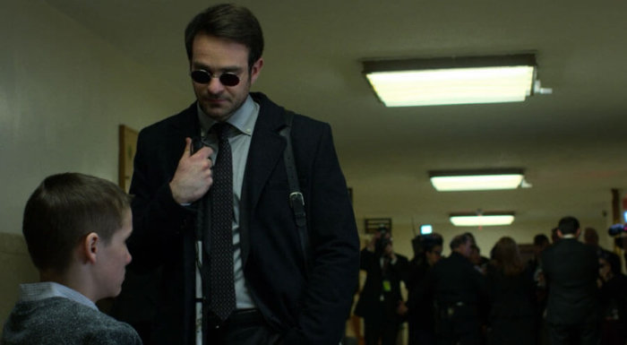 Matt gives a pep talk to his client Aaron James, as seen in the first episode of The Defenders.