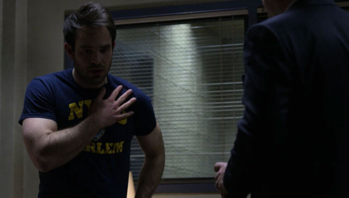 Matt finds himself in a strange environment wearing a new t-shirt, as seen on episode seven of The Defenders.