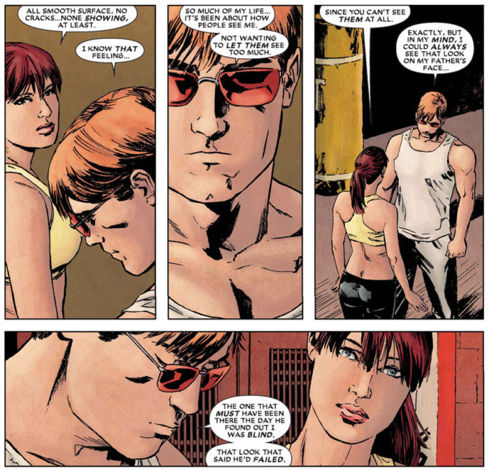 Matt and Dakota North having a heart to heart while working out, as seen in Daredevil #111 (vol 2), by Ed Brubaker and Clay Mann