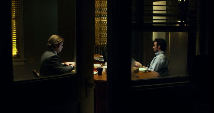 Matt and Foggy working in the office while Karen is out, as seen in Marvel's Daredevil, episode three of season one