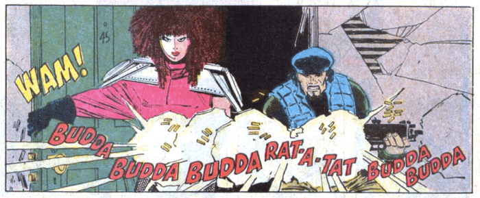 Typhoid Mary takes on a foe in her first comic book appearance in Daredvil #254, by Ann Nocenti and John Romita Jr.