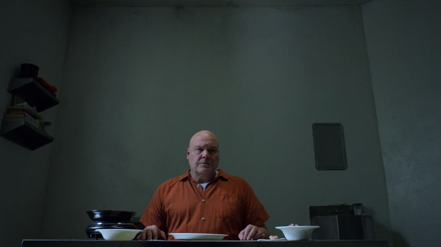 Fisk and his prison omelette, as seen on Marvel's Daredevil season three, episode one.