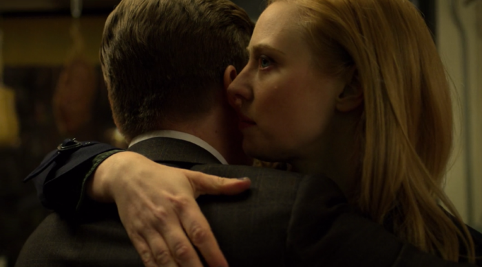 Karen hugging Foggy in Daredevil season three, episode two