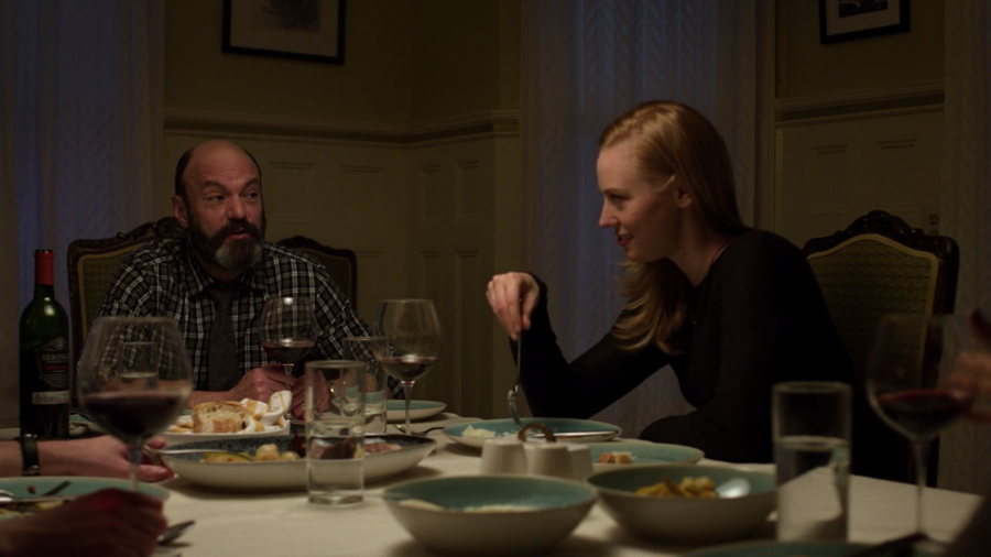Karen and Mitchell Ellison at dinner, as seen in Marvel's Daredevil, season three episode three
