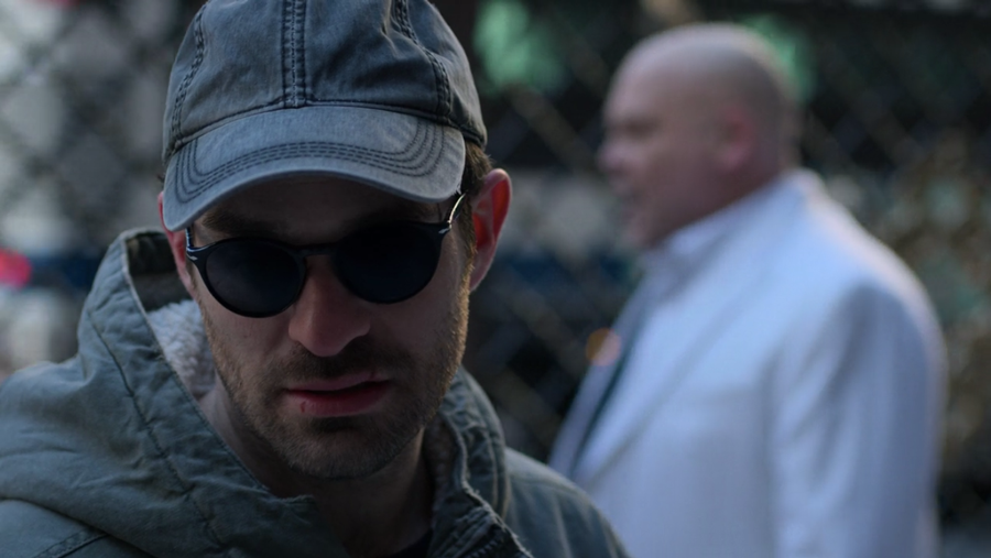 Matt is having a conversation with Fisk in his head, as seen in Marvel's Daredevil, season three episode three