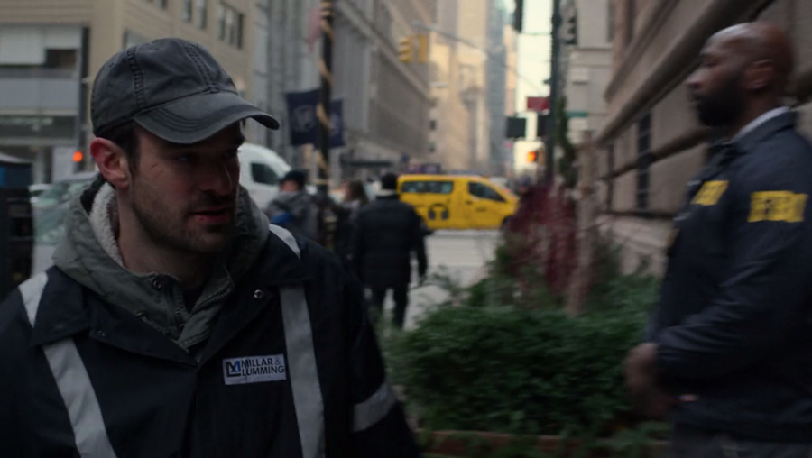 Matt sneaks into the hotel with the maintenance crew, as seen in Marvel's Daredevil, season three episode three