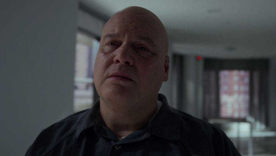 Fisk viewed face on in his hotel room, as seen in Marvel's Daredevil, season three episode three