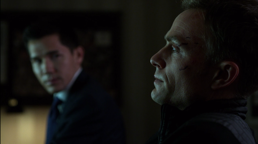 Agent Poindexter and his colleague discuss the fate of their fellow agents, as seen in Marvel's Daredevil, season three episode three