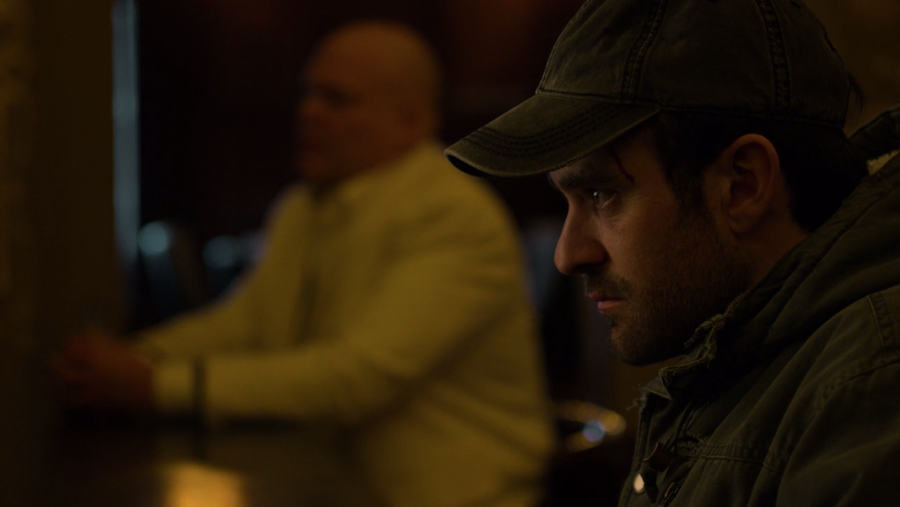 Matt imagines Fisk sitting at the bar next to him, as seen in Marvel's Daredevil, season three episode three