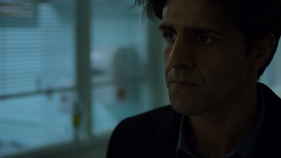 Agent Nadeem visits his injured colleagues at the hospital, as seen in Marvel's Daredevil, season three episode three